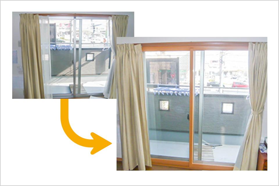 画像:内窓施工前と施工後比較