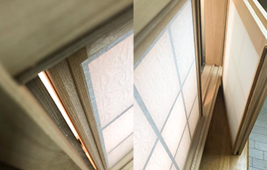 画像:モコ窓の隙間の無い納まり